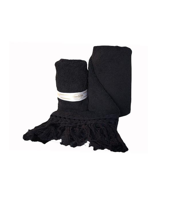 Asciugamani nere 550 gr/mq con frangia