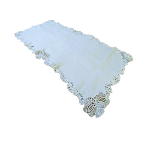 Centri punto antico bianco su base lino ricamo fiorentino artigianale