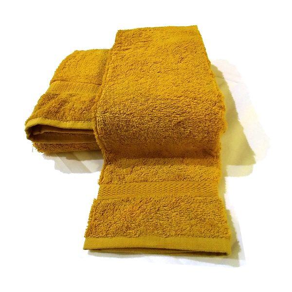 Asciugamano senape in spugna set due pezzi peso 500 gr/mq bordo jaquard