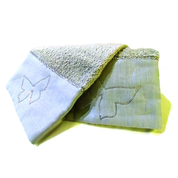 Asciugamani David Home con cristalli colore grigia con fascia in lino