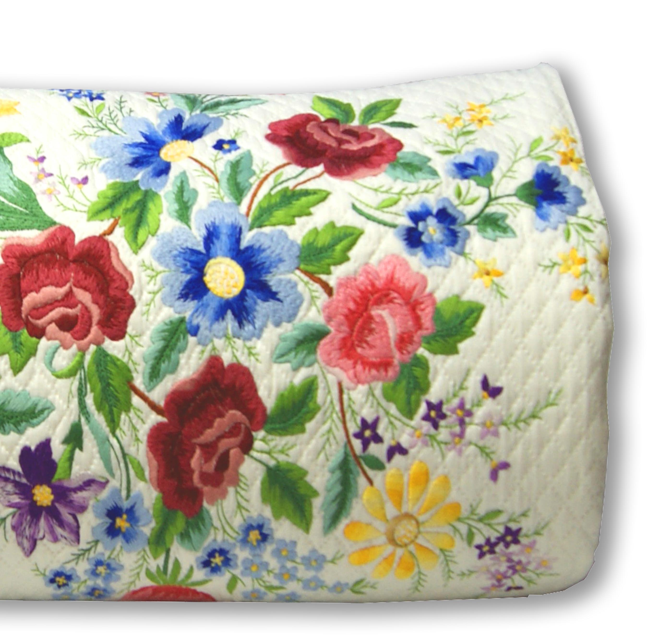 Copriletto Matrimoniale Cotone Piquet Ricamata Rose Di Maggio Colore Bianco Piliero It Home Decor